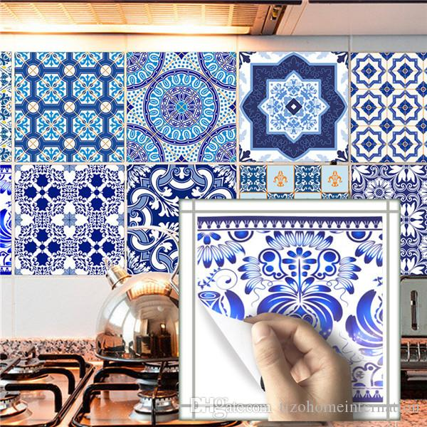 Classical Blue White Kitchen Oil Proof Wall Ceramic Tile Stickers