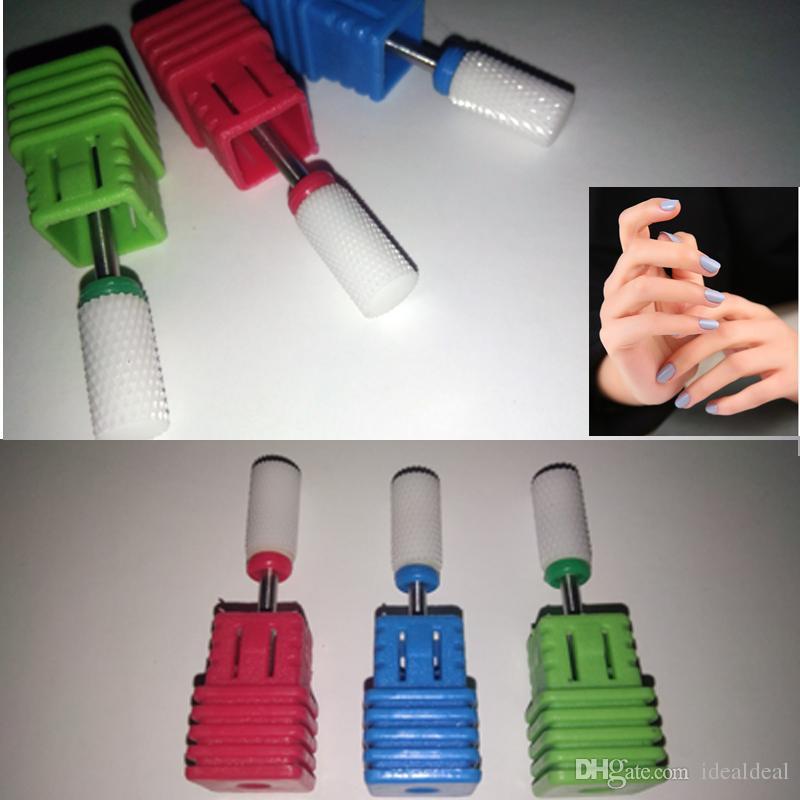 3 Size Flat Ceramic Nail Drill Bit Rotary Burr Cuticle Clean Bits For Manicure Drill Accessories Nail Beauty Tool Mills