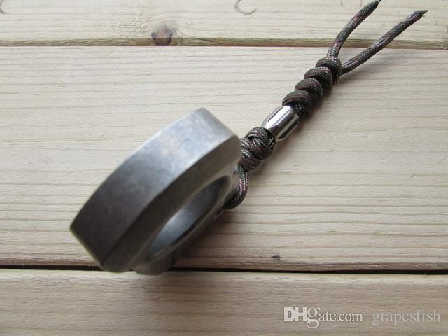 CNC Machined liga de titânio TC4 Dedo Tiger Knuckle Duster perfurador EDC Defesa Pessoal Chaveiro Acessório CNC Machined Stonewash