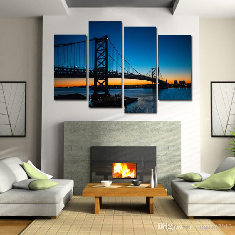 Beautiful bridge dawn scenery modern HD print pictures landscape oil painting on canvas home wall art decoration