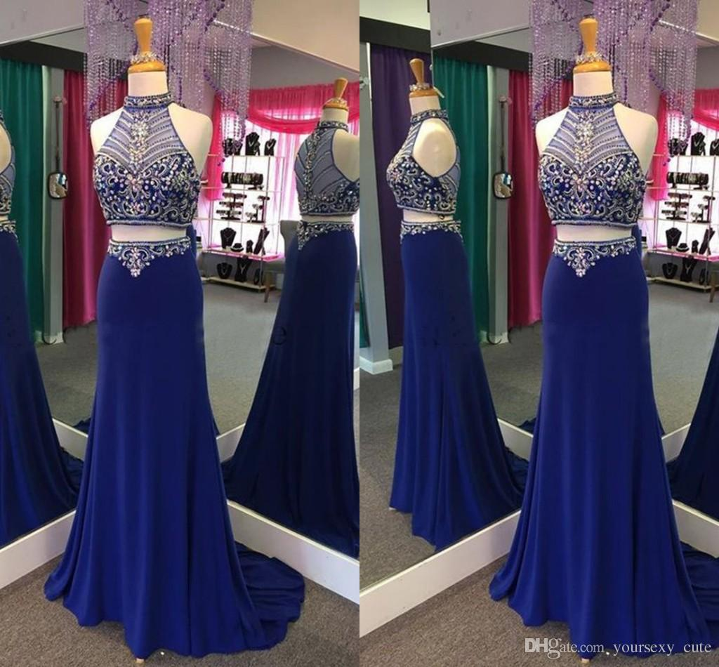 0050b71d351 Royal Blue Two Piece Prom Dresses High Neck Halter Crystal Beaded Satin See  Through Back Real Evening Dresses Elegant Formal Gowns Teenage Prom Dresses  Uk ...