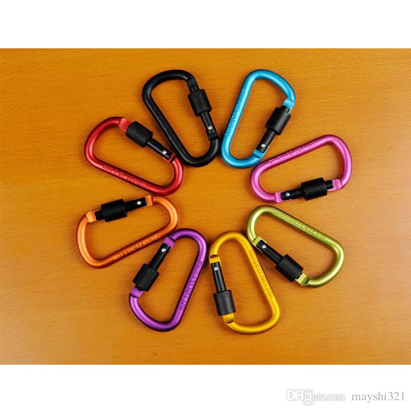 Outdoor Sports Equipment D ring carabiner camp keychain Aluminium locking Carabiner Hook Backpacking Buckle