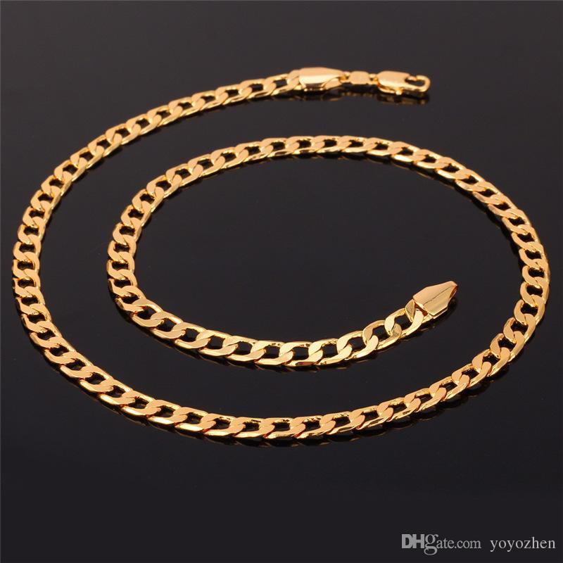 '18 K' Damga erkek Yüksek Kalite Altın Kaplama Tıknaz Kolye Zincirler 18 K Gerçek Altın Kaplama Figaro Kolye 5 MM 55 CM 22 '' YS744