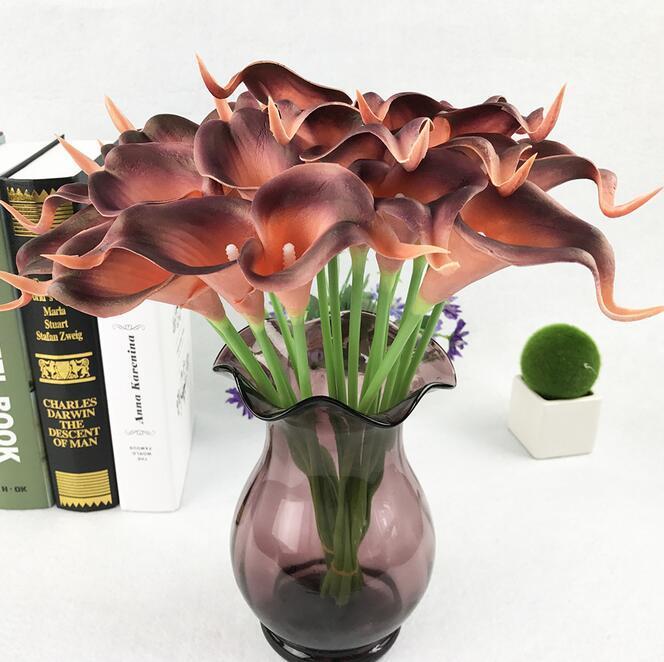Artificielle calla lily simulation de fleurs vraie touche fleurs main bouquet flores décoration de mariage fausses fleurs articles de fête G724