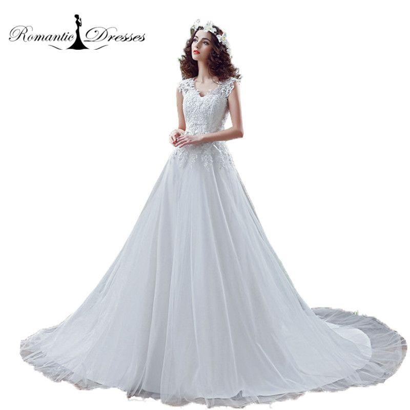 China Lace Wedding Dresses Plus Size V Neck Appliques Beading Belt Tulle  Bridal Wedding Gowns 30267