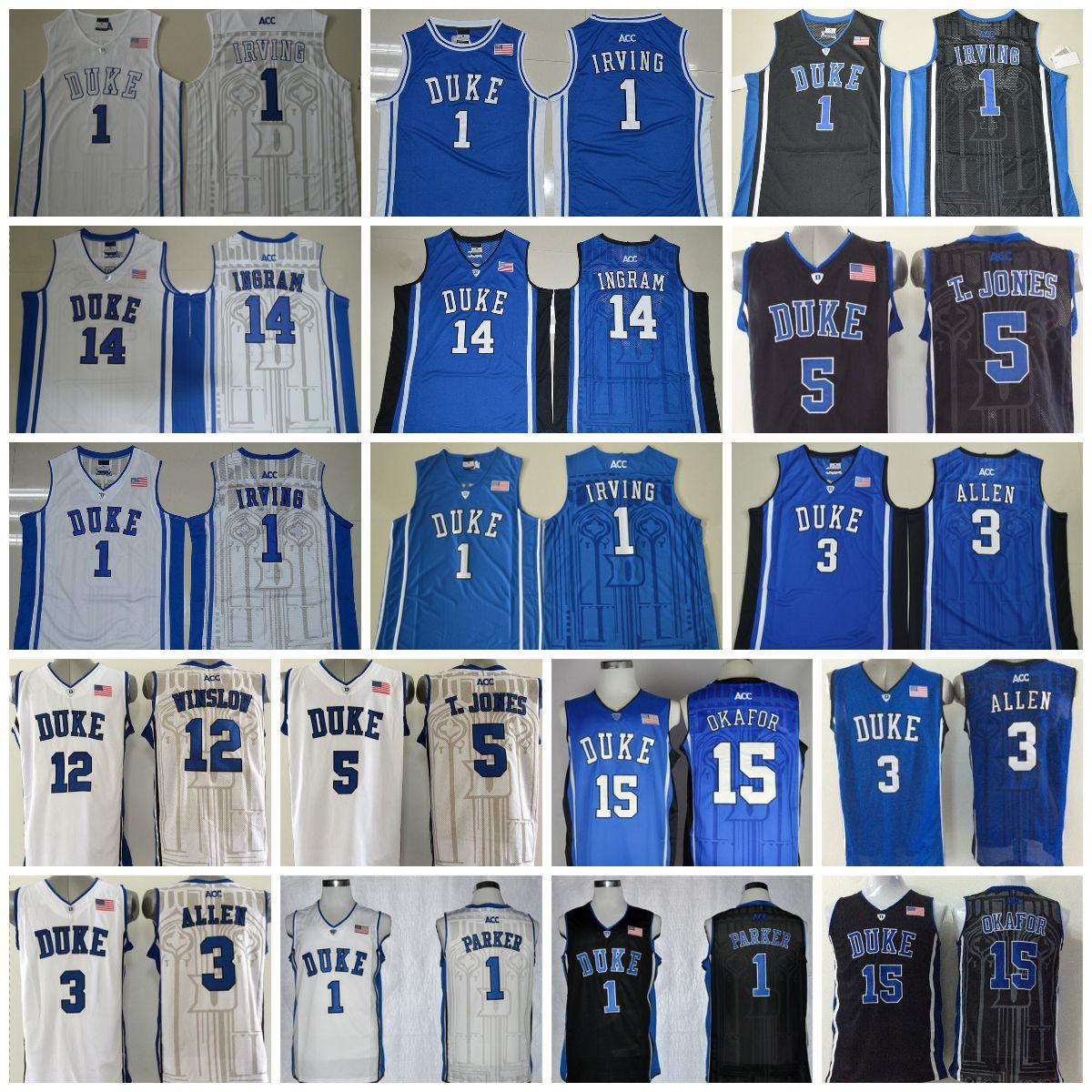 c901585631e 2019 Devils Basketball Jerseys College 3 Grayson Allen 1 Kyrie Irving 1  Jabari Parker 3 Grayson Allen 5 Tyus Jones 12 Justise Winslow Duke Blue From  ...