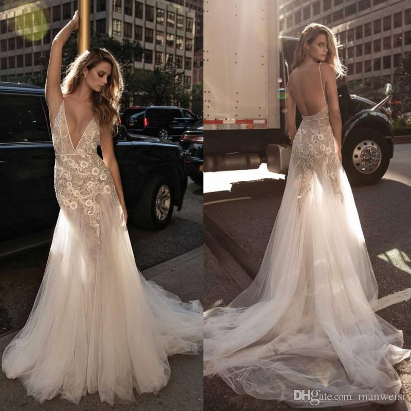 Berta 2017 Mermaid Backless Wedding Dresses Plunging Neckine Lace ...