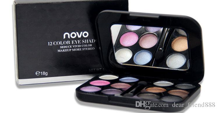 Best Selling NOVO Dazzle Colour 12 Color Eye Shadow Sootiness Makeup Stage Bead Makeup Palette 6 Styles For Choose 6pcs/lot