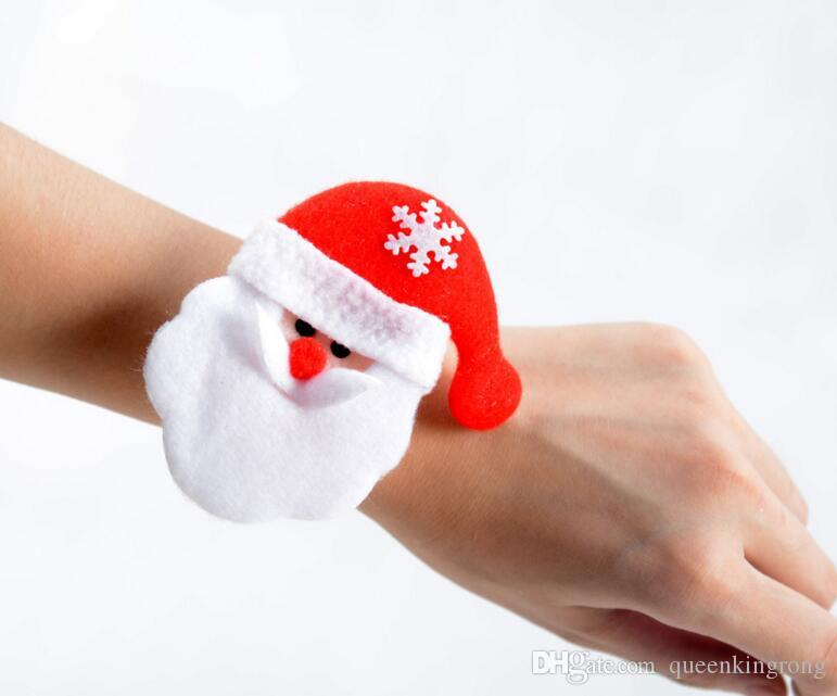 Christmas Ornament Christmas slap bracelet bangle Xmas pat circle hand ring Santa Claus snowman bear deer bracelet Christmas gift toy