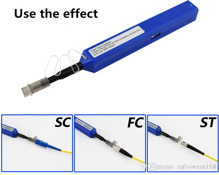 SC تنظيف الألياف القلم الألياف البصرية شفة / محول تنظيف بنقرة واحدة الألياف البصرية موصل تنظيف نظافة فرشاة