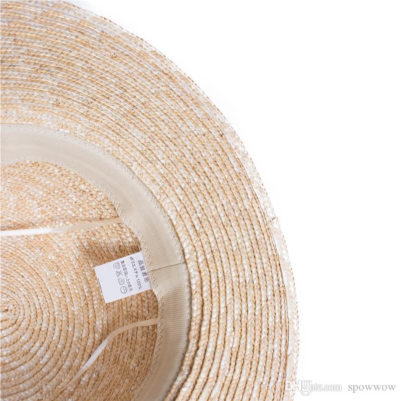 Femmes élégantes naturel paille Boater Flat Top Hat bande noire été plage robe défilé de mode A449
