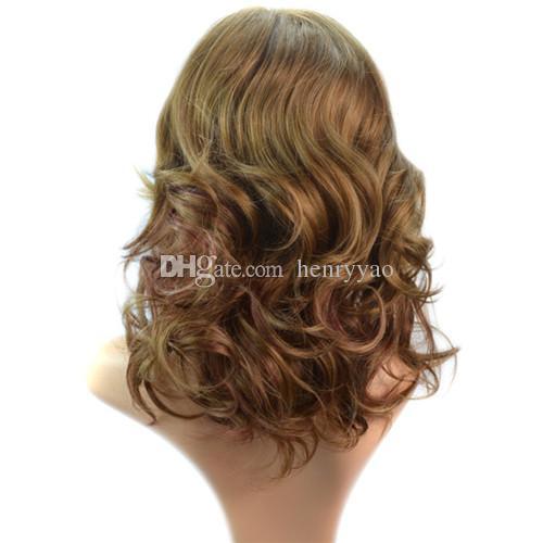 Short Sprial Curls Pelucas sintéticas baratas del pelo Peluca de golpe lateral media para las mujeres Peluca sintética a prueba de calor
