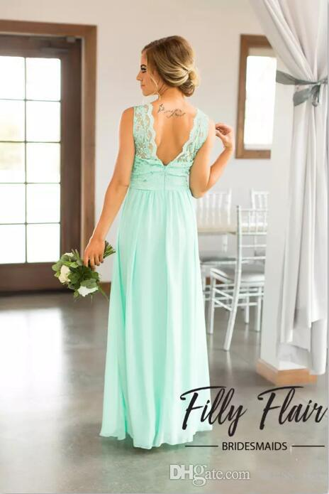 Hot Sale 2019 Mint Green Lace Top Chiffon Skirt Country Bridesmaid Dresses Long Cheap Beach Backless Floor Length Wedding Party Gown EN9201