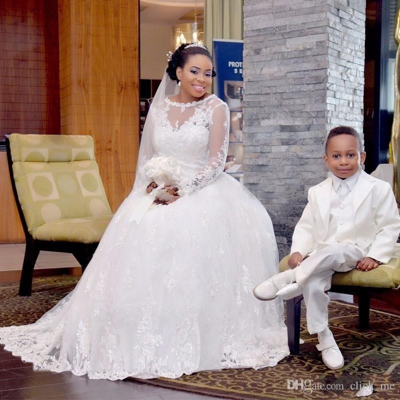زائد حجم فساتين الزفاف مع شير العنق الرباط يزين الأفريقي طويلة الأكمام فستان الزفاف قطار الاجتياح مثير أثواب الزفاف vestidos