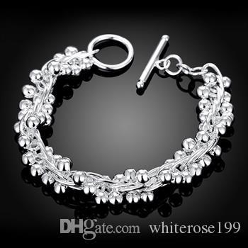 Partihandel - Retail Lägsta pris Julklapp, Gratis frakt, Ny 925 Silver Fashion Bracelety B019
