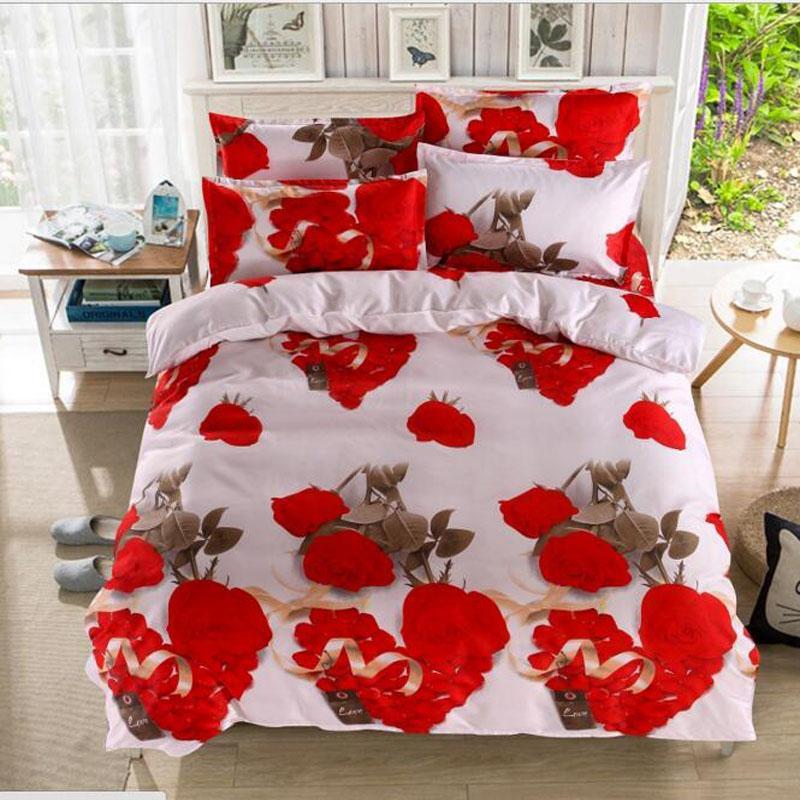 Kırmızı Gül 3D Baskılı Pamuk Nevresim Çarşaf Flowel Yastık Sevgililer günü Hediye Yatak Örtüsü Kraliçe boyutu