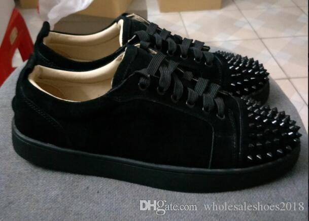 brand new 47083 75e2e Low Top black suede spikes Casual Red Bottom Luxury Shoes 2017 New Men and  Women Party Designer Sneakers Lovers Genuine Leather size EU47
