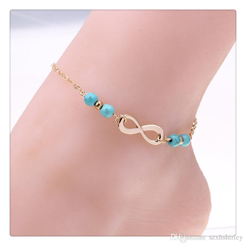 2017 New Anklets Bells Summer Style Turquoise Beads Chain Foot Double Zipper Anklet 925 Women Silver Bracelet Trendy Jewelry Free Shipping