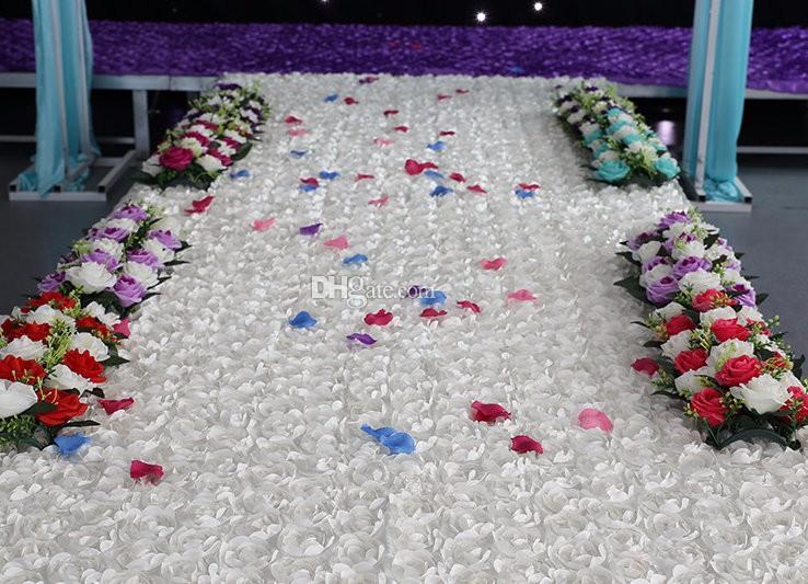 11.8mètres x largeur 130cm Rose Rouge Longue Prix De Mariage Floral Pas Cher Allée Coureur De Tapis Pour Église mariage étape T station tapis