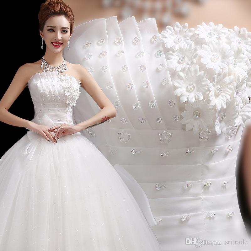 Cheap In Stock White Plus Size Wedding Dress Scalloped Strapless ...