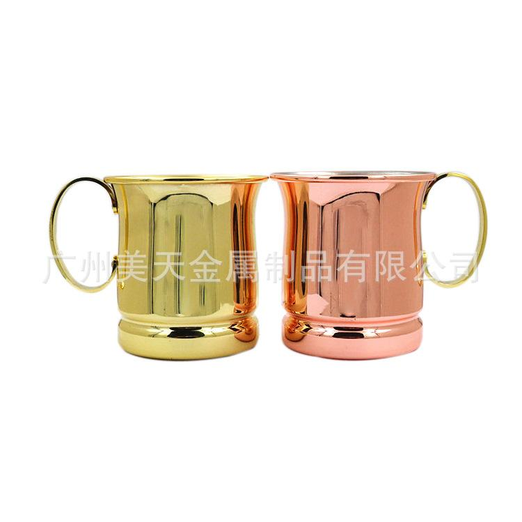 moscow mule mug stainless steel whisky cups with handle cocktail glasses plating copper cup flame liquor mugs 400ml for home bar 26mt a humour mugs - Mule Mug