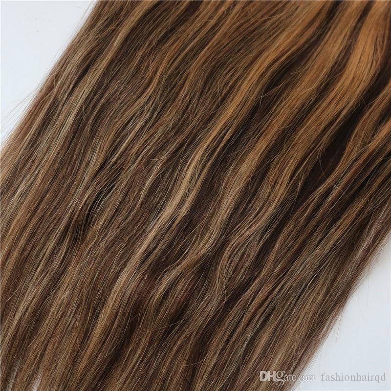 Clip In Brazilian Human Hair Extensions Piano #3/27 Straight Remy Hair Clip Ins Highlight 100g 14-24 inch