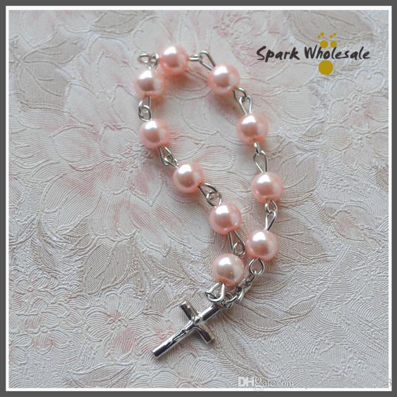 Catholic Baptism Favors Pink Glass Pearl Finger Rosary Religious Mini Rosary Ring Girl's Communion Favors Cross Finger Rings