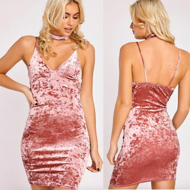 Compre Verano De Las Mujeres 2017 Vestido De Terciopelo Sexy Vestido ...