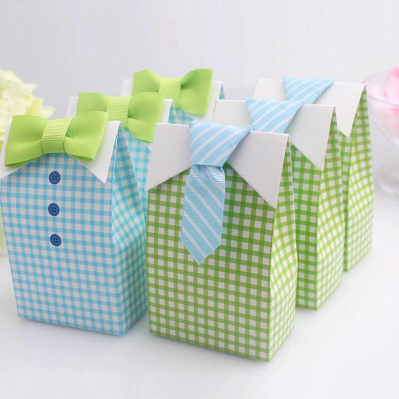 My Little Man Blue Green Bow Tie Birthday Boy Baby Shower Favor Candy Treat Bag Wedding Favors Box Gift Bags Beautiful Wrapping Paper