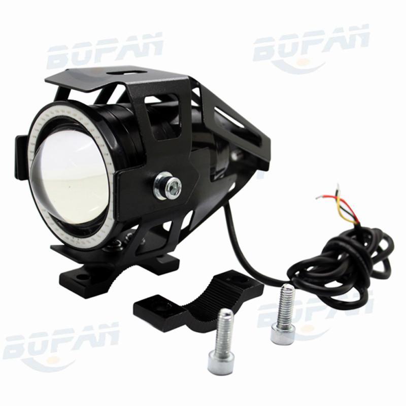 Motorcycle LED Headlight Fog Light CREE Chip U7 125W 3000LM Devil Angel Eye DRL Daytime Running Light Spot Lamp BK