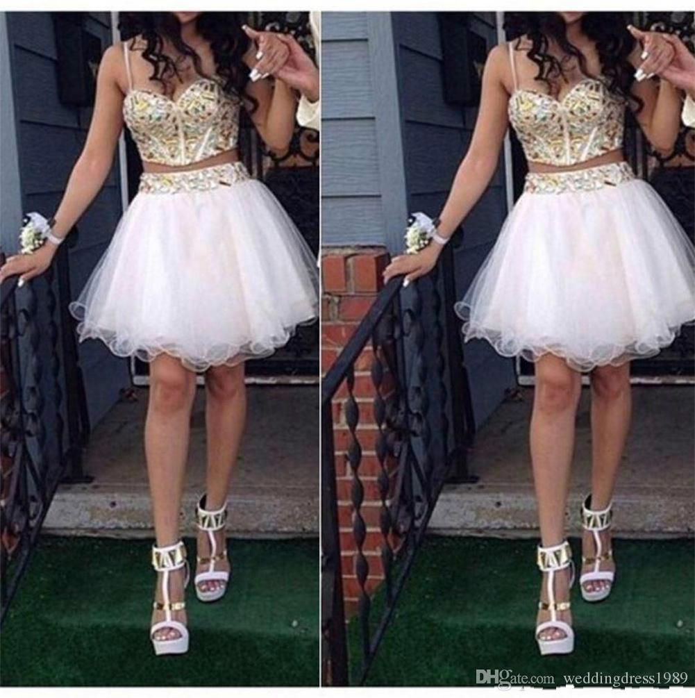 Sexy Two Pieces Straps Short Prom Dress Ball Gowns Beads Crystal A-Line 2018 cheap Party Homecoming Graduation dresses Club Wear Cocktail