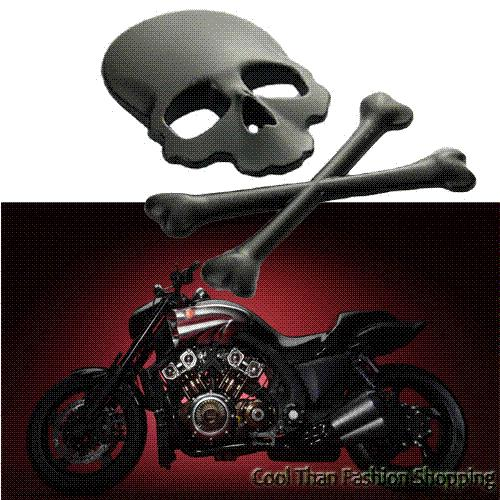 Crossbones skull demon metal bone logo badge decal car stickers emblem side door label for motorcycle automobile harley suzuki wholesale case cover forn8