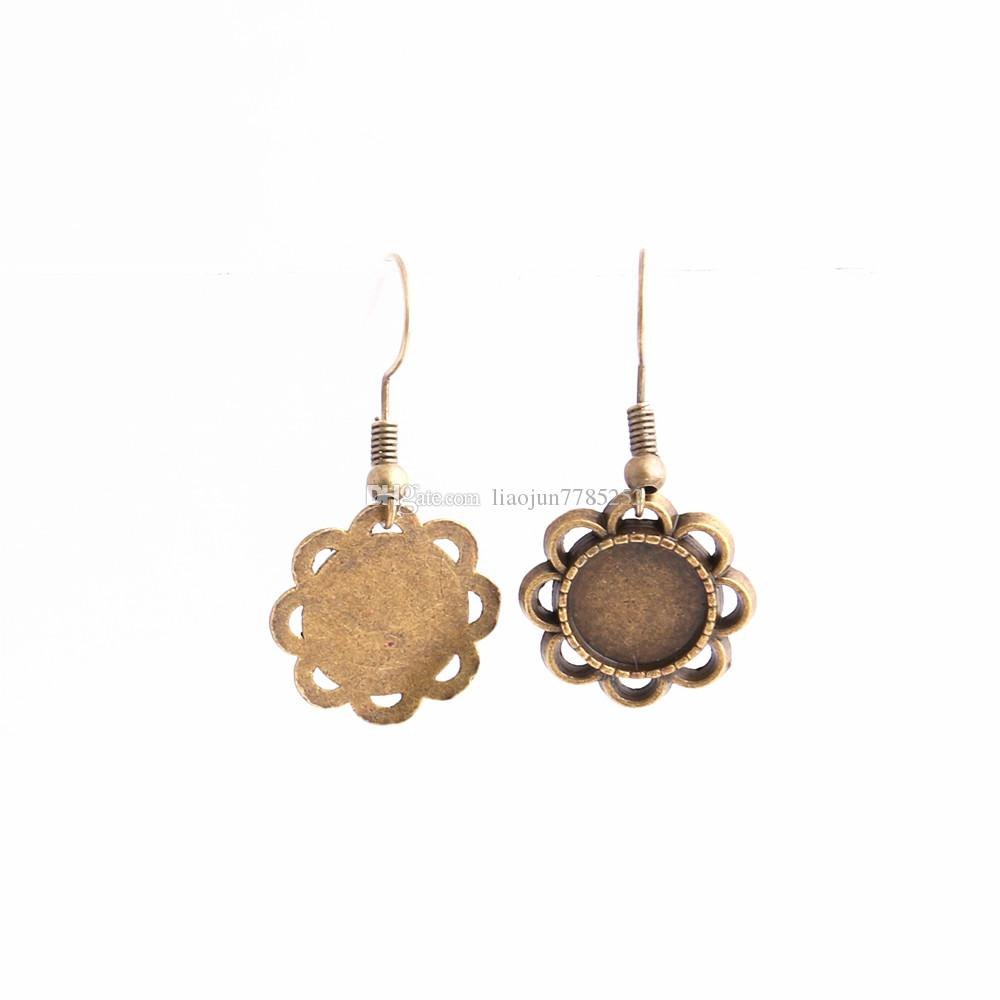 SWEET BELL Metal Alloy Zinc Fit Round 11mm Cabochon Set Pendant Drop Earing Diy Jewelry Making C0786