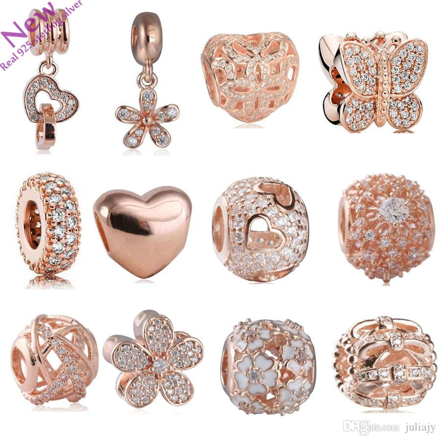 207 new rose gold color flower charms beads fit original pandora 207 new rose gold color flower charms beads fit original pandora bracelets 925 sterling silver jewelry cz pendant bead diy accessories silver charm bracelet izmirmasajfo
