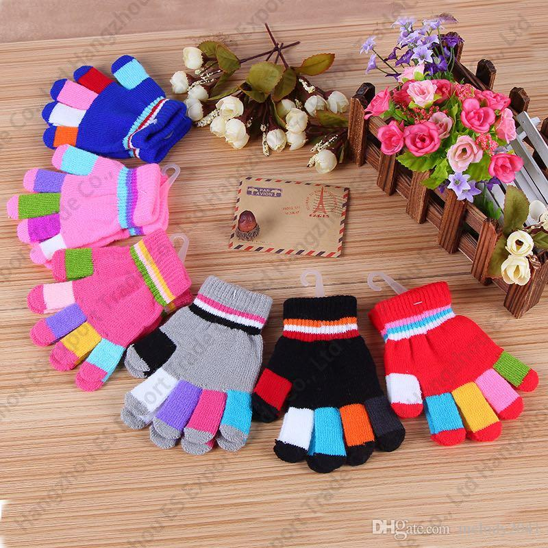 Winter Gloves Simple Colorful Fingers Kids Size Cute Children Knitted Fingers Gloves 6 Colors For Christmas Gifts Cheap Gloves Wholesale