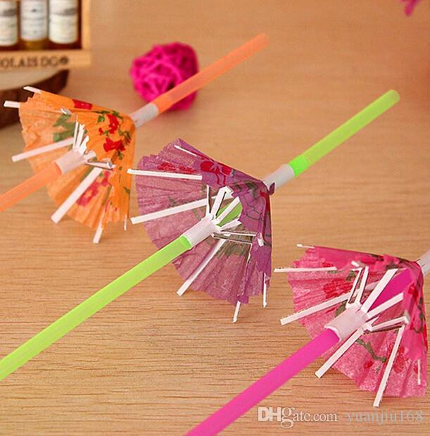 umbrella drinking straws parasol cocktail paper straws Hawaiian Hula Beach Party Cocktail Straws G772