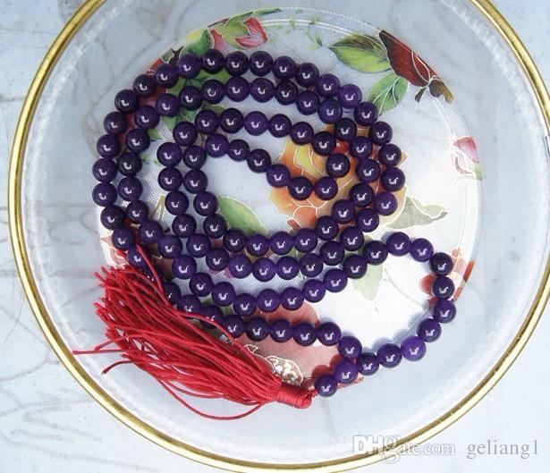 Tibetan buddhist prayer beads, blue jade jade 108 retro charm beaded bracelet necklace