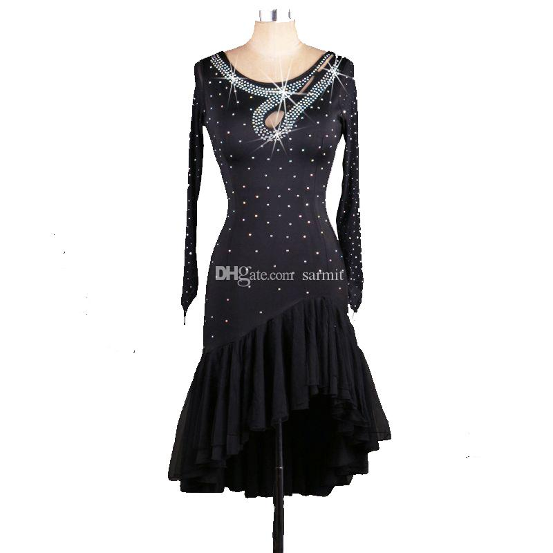 Latin Dance Dress Women Salsa Samba Dance Dress Tango D0295 Black ...