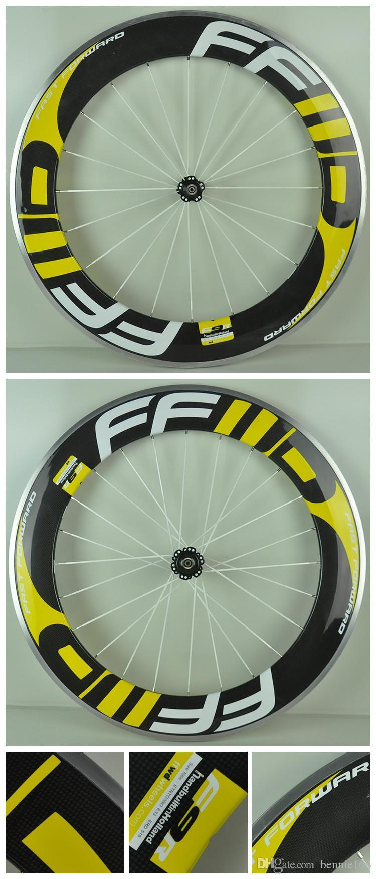 Sarı Çıkartmaları Hızlı İleri FFWD Karbon Tekerlekler 88mm 3 K Kattığı Novatce Ile Tam Karbon Bisiklet Bicyle Tekerlek 271/372 Hub