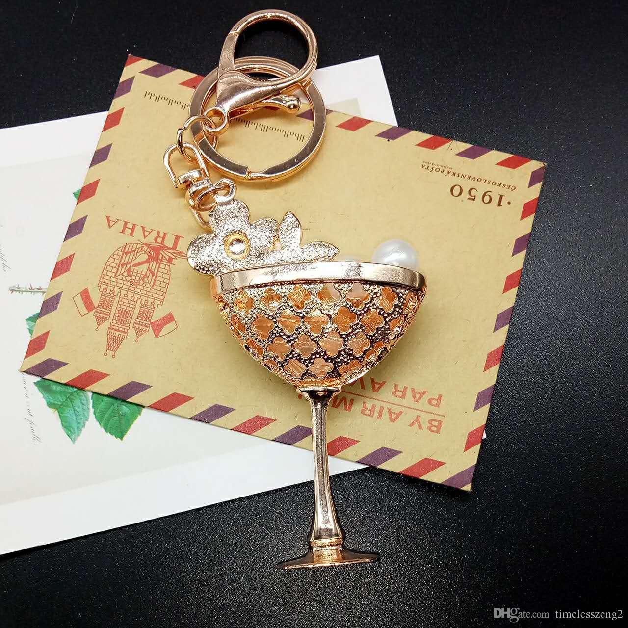 The new style goblet shape key chain Pearl flower set drill wine cup key ring Lady handbags accessories pendants