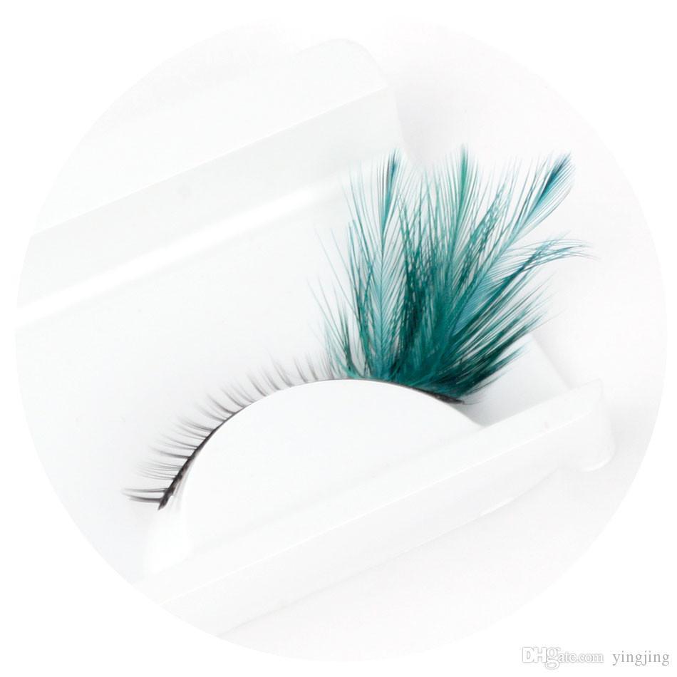 2017 Hot! Handmade of Colorful Blue Feathers Clothing Party Eyelashes Profissional False Eyelashes Individual Eyelashes