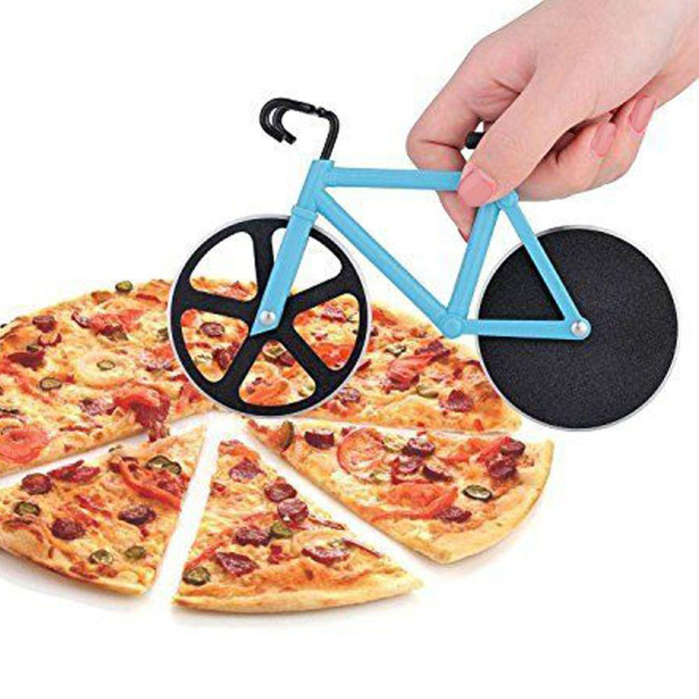 Bicycle Wheel Knife Pizza Cutter Dual Stainless Steel Bike Round Steel Pizza Shovel Cooking Tool Kitchen Accessories Pizza Tools