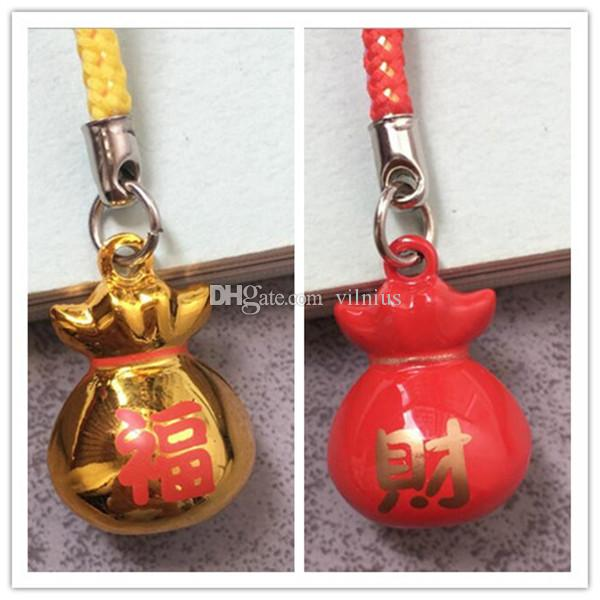 Classic Style Red/Gold Color Money Bag Pouch Bell Cell Phone Charm Strap for Lucky 0.9 in.