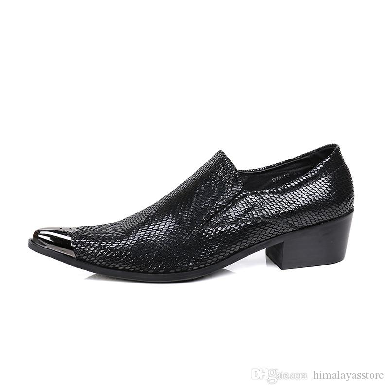 British style man's Leather Shoes oxfords, ponited toe Business dress Shoes Black for Man, Height Increased