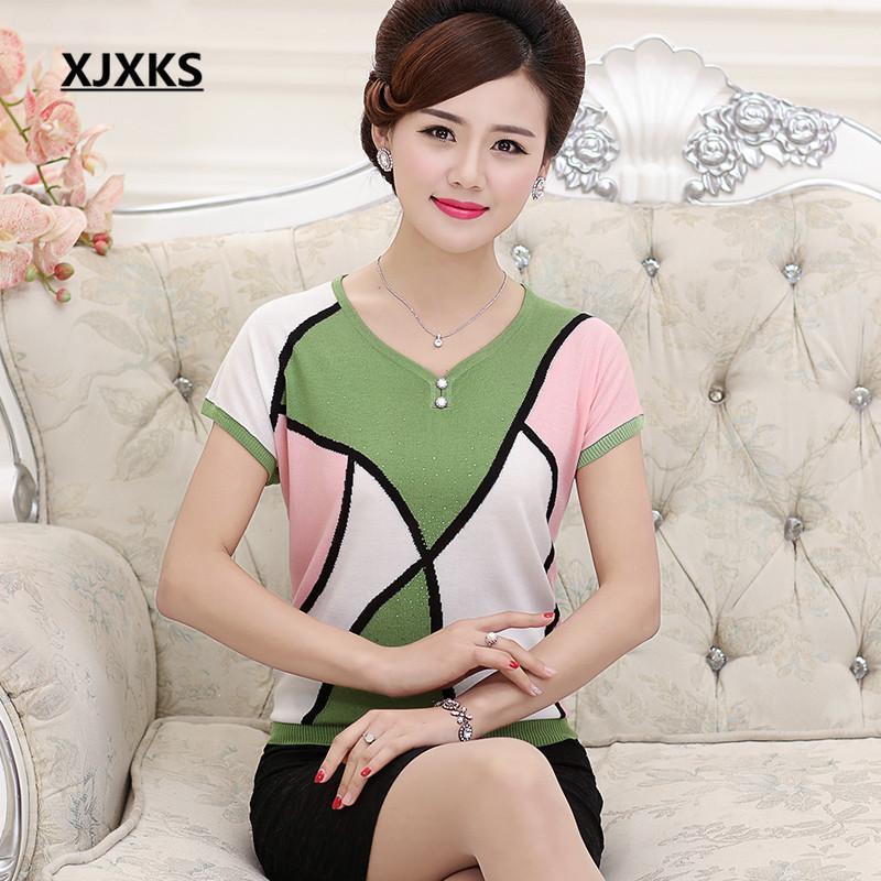 XJXKS Batwing Short Sleeve Summer V-Neck Tops High Quality Fashion Tees Geometric Button Knitted T-Shirt 5803