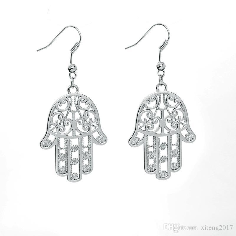 High Quality Gold & Silver Plating Alloy Stud Earring New Fashion Women Jewelry Fatima Hamsa Hand Pendant Charms Dangle Earring