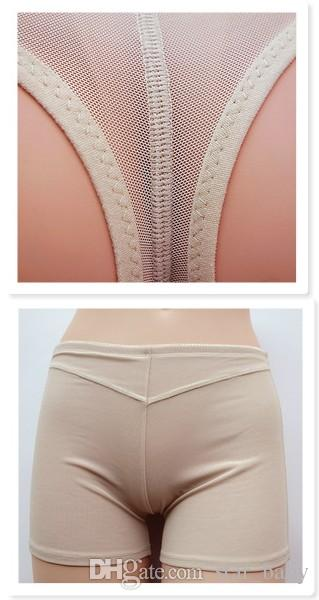 EuropeStyle net yarn sexy toning carry buttock pants wommen's shapewear exposed buttocks black Khaki boxers underpants B46600