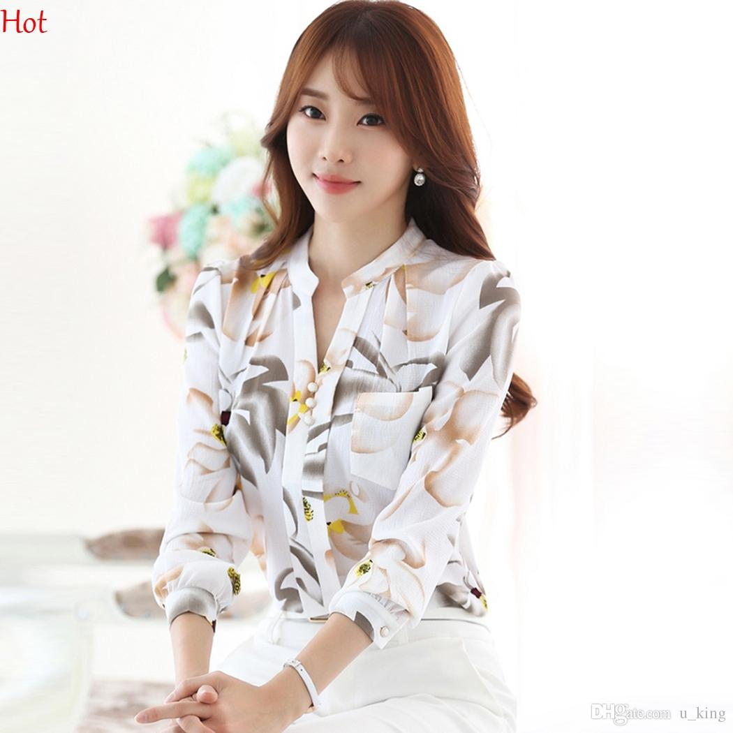 d898e483116 2017 Summer Shirts Ladies Clothing Floral Print Chiffon Blouse ...