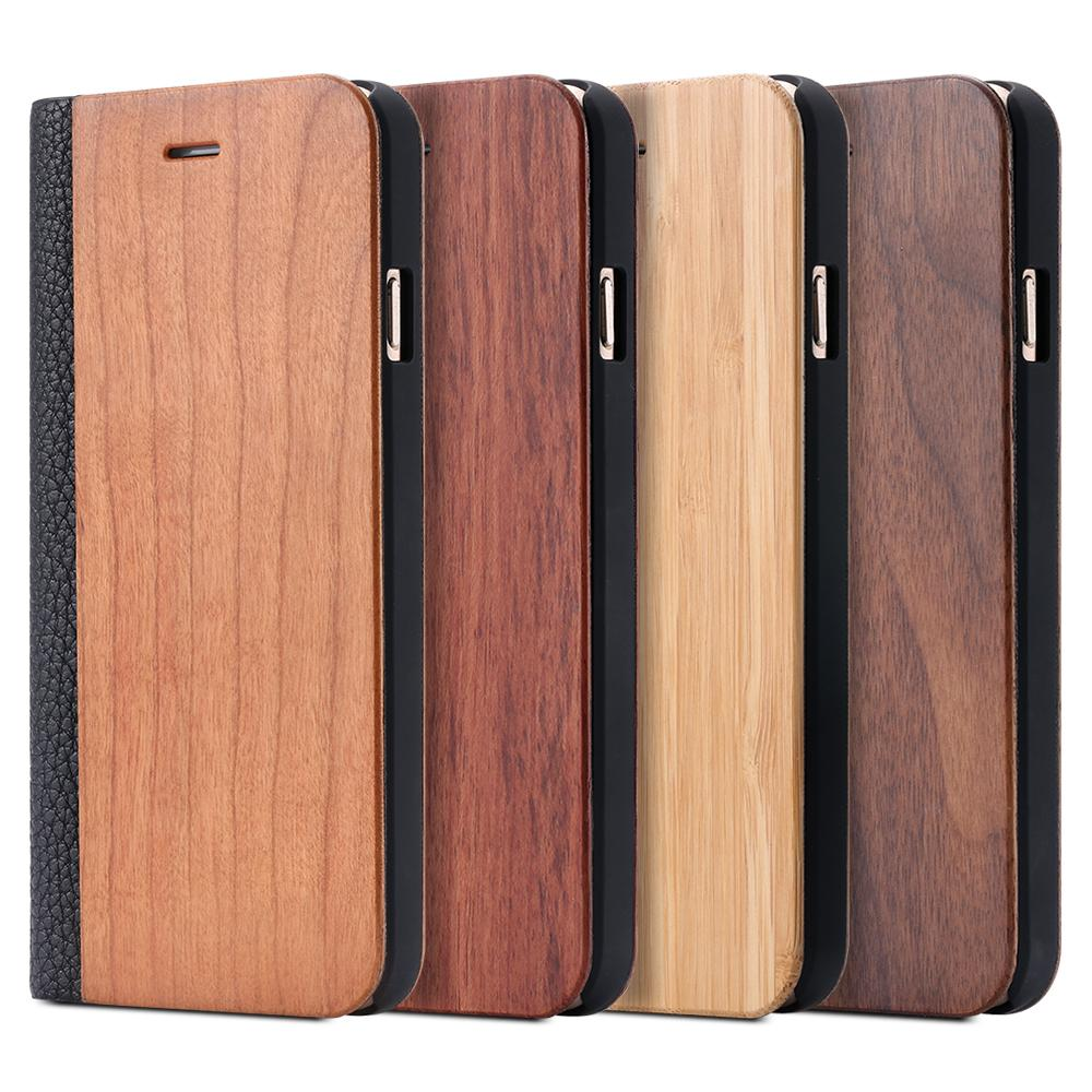 Custodia in pelle di lusso retrò + Bamboo legno per Apple Iphone 6 6s Plus per Iphone 7 Fashion Card Slot Portafoglio Litchi Cover Bags