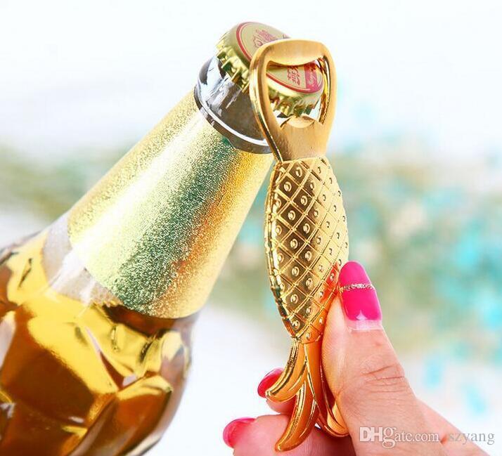 Favores de la boda Regalos Gold Metal Piña Cerveza Abridor de botellas Decoración del partido Suministros Oro Ananas Comosus Botella Tapa Abridor + DHL Gratis